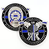 Punisher Thin Blue Line, Blue Lives Matter Law Enforcement Officers Military Police NYPD Challenge Coin with Unique Serial Numbers