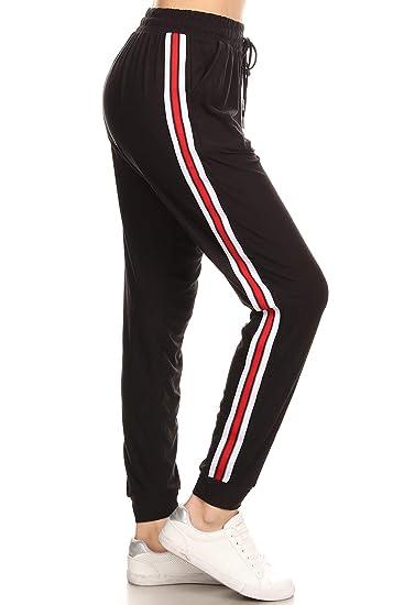 424cf73ecaa Amazon.com  LA12ST Women s Black Red Side Tape Stripe Jogger Pant ...