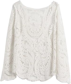 Camisa Bordado Encaje Crochet Top Blusa Blanca Mangas Largas para Dama Mujer: Amazon.es: Juguetes y juegos