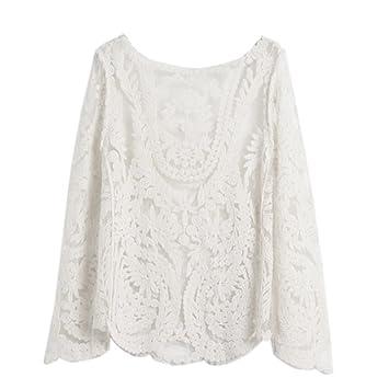 Camisa Bordado Encaje Crochet Top Blusa Blanca Mangas Largas para Dama Mujer