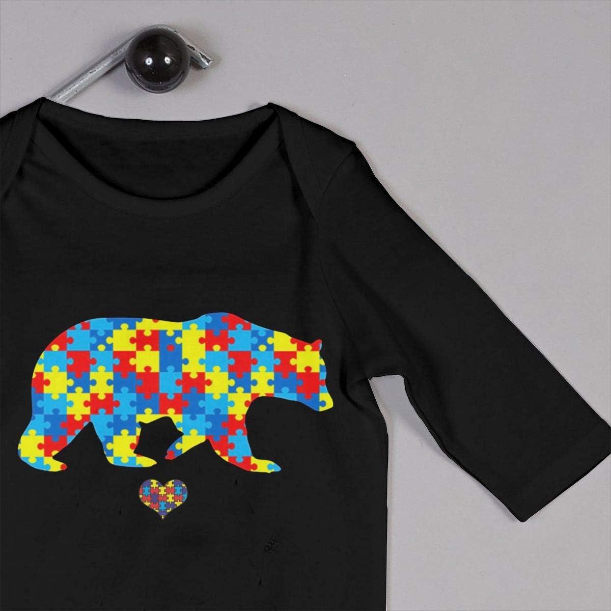 Mama Bear Autism Awareness Printed Newborn Baby Jumpsuit Long Sleeve Rompers Black