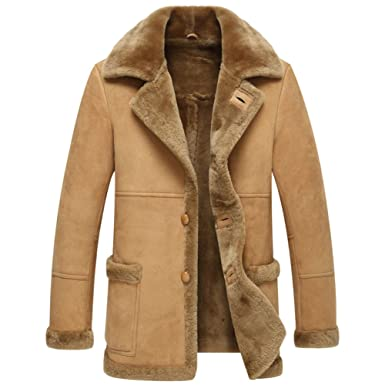 2283d9348c66 Leather Jacket Men Shearling Coats Mens Fashion Slim Genuine Sheepskin  Outerwear (XS