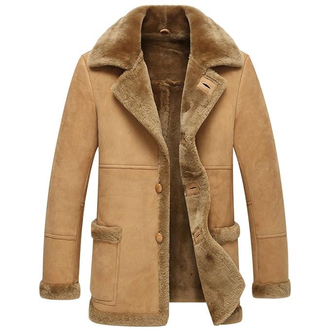Amazon.com: chamarra de piel hombres Shearling abrigos Mens ...