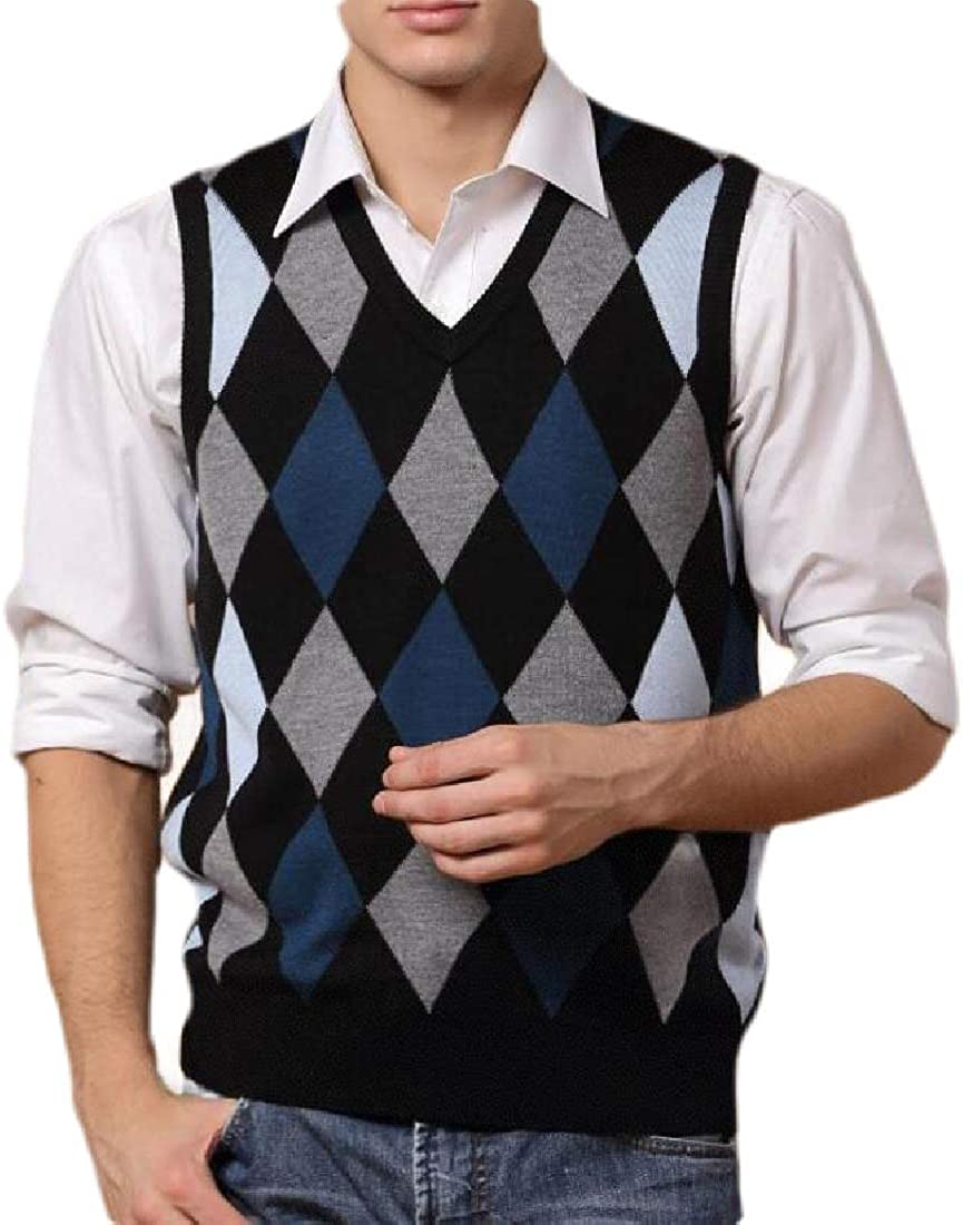 ouxiuli Mens V-Neck Sleeveless Slim Fit Argyle Knitted Sweater Vest