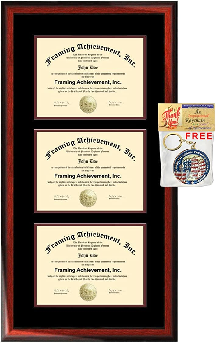 Amazon Com University Diploma Frame Three Certificate Holder Triple College Degree Frames 3 Document Framing Double Matted Satin Mahogany Wood Top Black Inner Maroon License Plaque Case Clothing