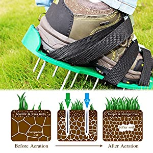 Sago Brothers Lawn Aerator Shoes, New Version Lawn Aerator Sandals, Heavy Duty Lawn Spiked Shoes for Grass - One Size Fits All, Best Lawn Aerator Tool Ever