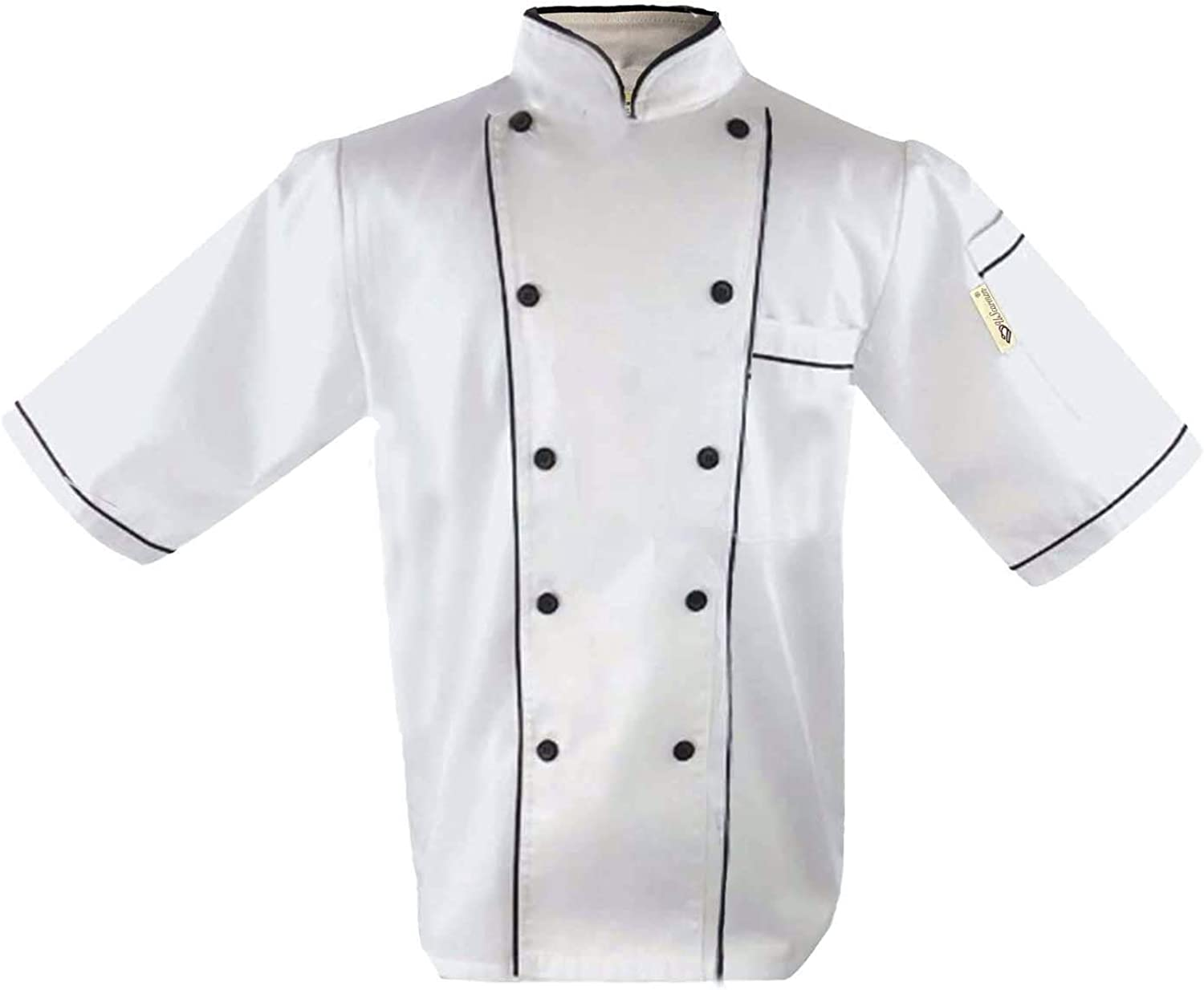 Uniform Chef Coat Unisex Short Sleeve Catering Jackets for Food Staff or Chef Tie