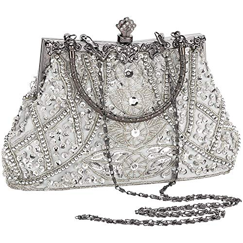 AIJUN Womne's Vintage Clutch Purse Cocktail Wedding Party Evening Handbag Sequin Moonlight Flower Bead Embroidery Package Evening Bag (Silver) ()