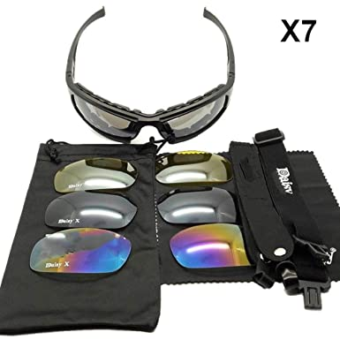3af439bdf7ad Daisy X7 Military Goggles Outdoor Polarized 4 Lens Kit Military Tactical  Glasses UV Protection Motor  Amazon.co.uk  Clothing