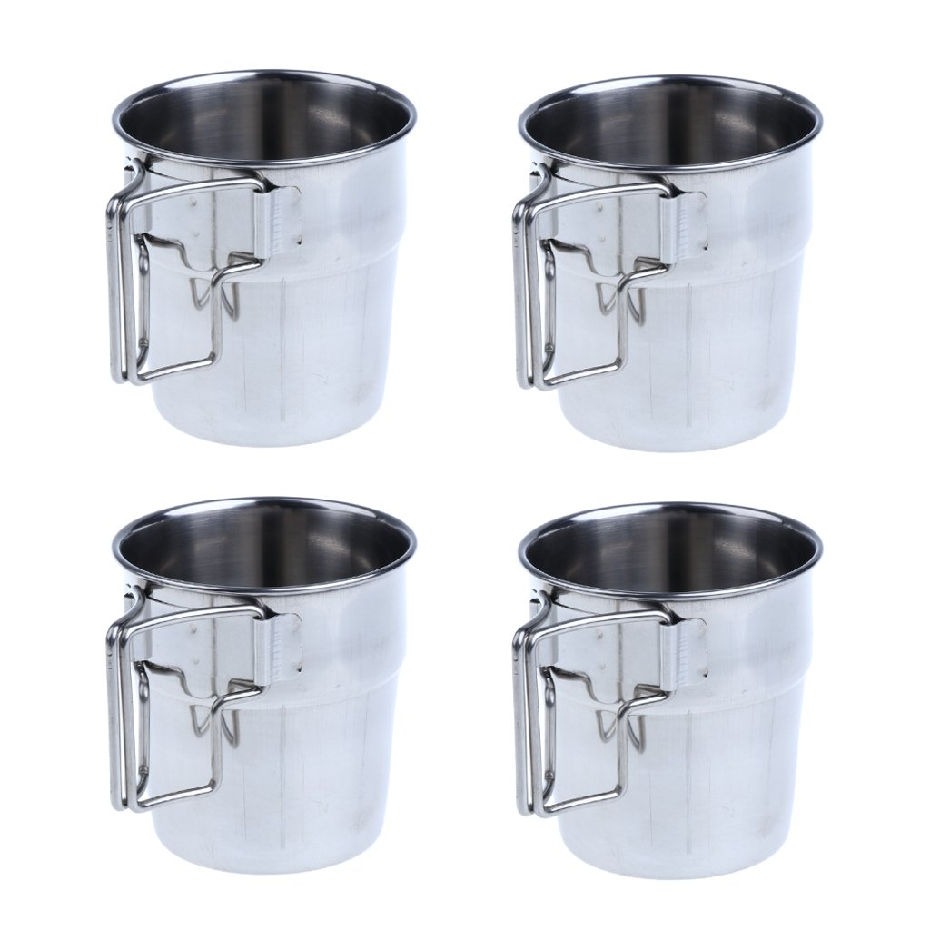 Flameer 4pcs Portable Stainless Steel Folding Handle Cup Drinking Tumbler for Outdoor Picnic Camping Hiking