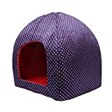 Jainsons Small Pet Cave Bed Red & Blue Dog/Cat House (Foldable/Detachable) (Small)