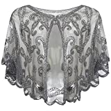 BABEYOND 1920s Shawl Wraps Beaded Evening Cape Bridal Shawl for Evening Dresses Wedding Party, Gray, One size fits most