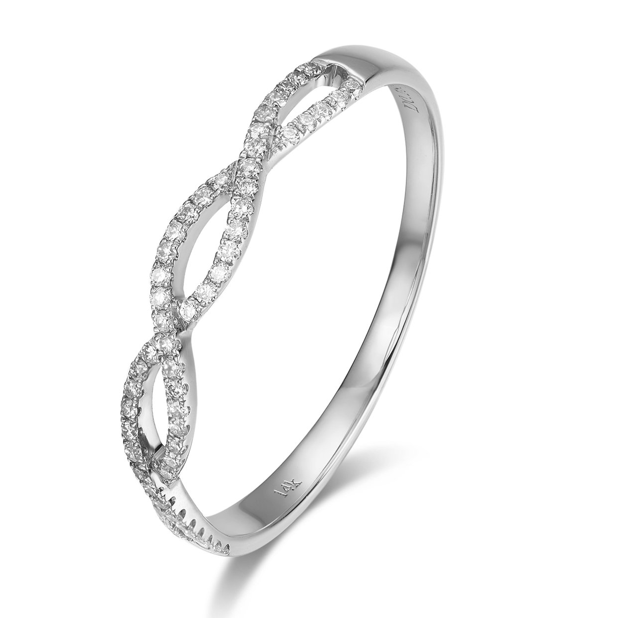 14k Solid Gold Swril Anniversary Wedding Ring (0.253 cttw) (white-gold, 7) by Lamrowfay (Image #1)
