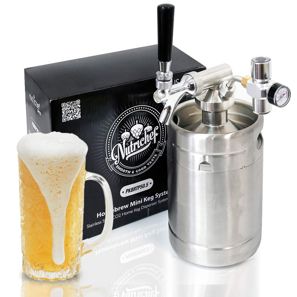 Pressurized Beer Mini Keg System - 64oz Stainless Steel Growler Tap, Portable Mini Keg Dispenser Kegerator Kit, Co2 Pressure Regulator Keeps Carbonation for Craft Beer, Draft and Homebrew - NutriChef