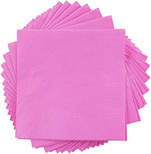 JAM PAPER Small Beverage Napkins - 5 x 5 - Pink - 50/Pack