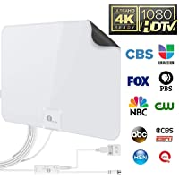 1byone 50 Miles Amplified HDTV Antenna with USB Power Supply and 20 Feet Coaxial Cable - White/Black
