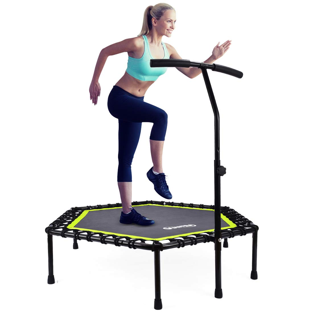 Newan Trampoline, 48'' Mini Trampoline for Adjustable Handrail, Fitness Rebounder Trampoline Indoor for Adults, Best Home Exercise - Workout Cardio Fitness Trainer, Silent and Safe Bungee Rope System