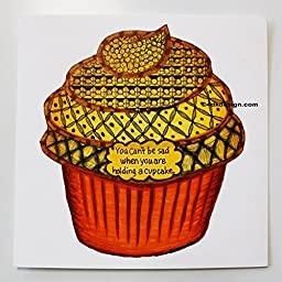 ''No Sad Cupcakes'' 6'' x 6'' on Hot Press Watercolor Paper