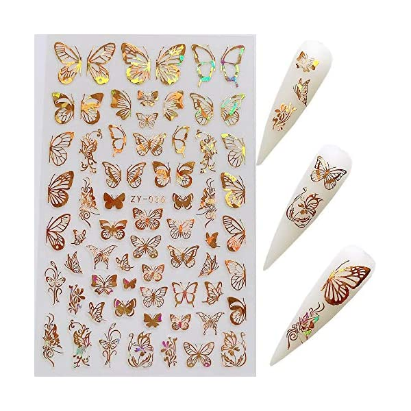 NAIL ANGEL 8Sheets Nail Art Adhesive Sticker Sheets Different Laser Gold and Silver Color Butterfly Shapes Nail Art…