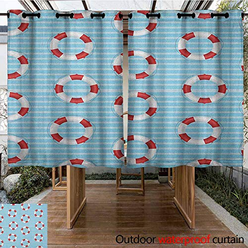 AndyTours Outdoor Curtain Panel for Patio,Buoy,Life Preserver Crisis Security Lifejacket Lifeguard Danger Protection Symbols,for Porch&Beach&Patio,K160C115 Baby Blue Red White