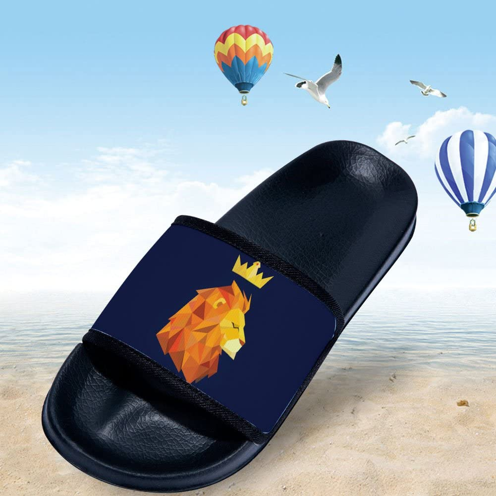 Wilbur Gold Slide Sandals for Boys Girls Fashion Outdoor Pool Swimming Indoor Home Bath Shower Slippers with Lion