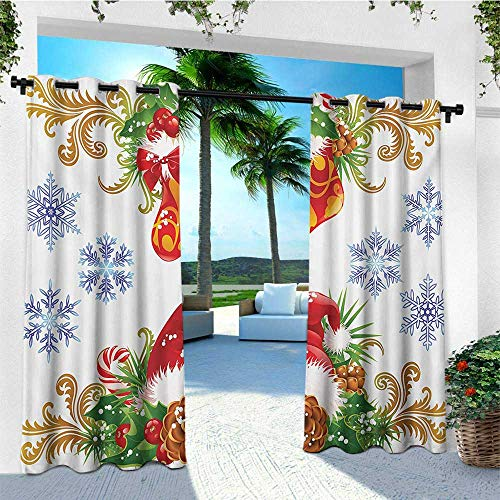 leinuoyi Christmas, Outdoor Curtain Pole, Classical Traditional Design with Stocking and Santa Claus Hat Mistletoe Snowflakes, Outdoor Curtain Panels for Patio Waterproof W96 x L108 Inch Multi -