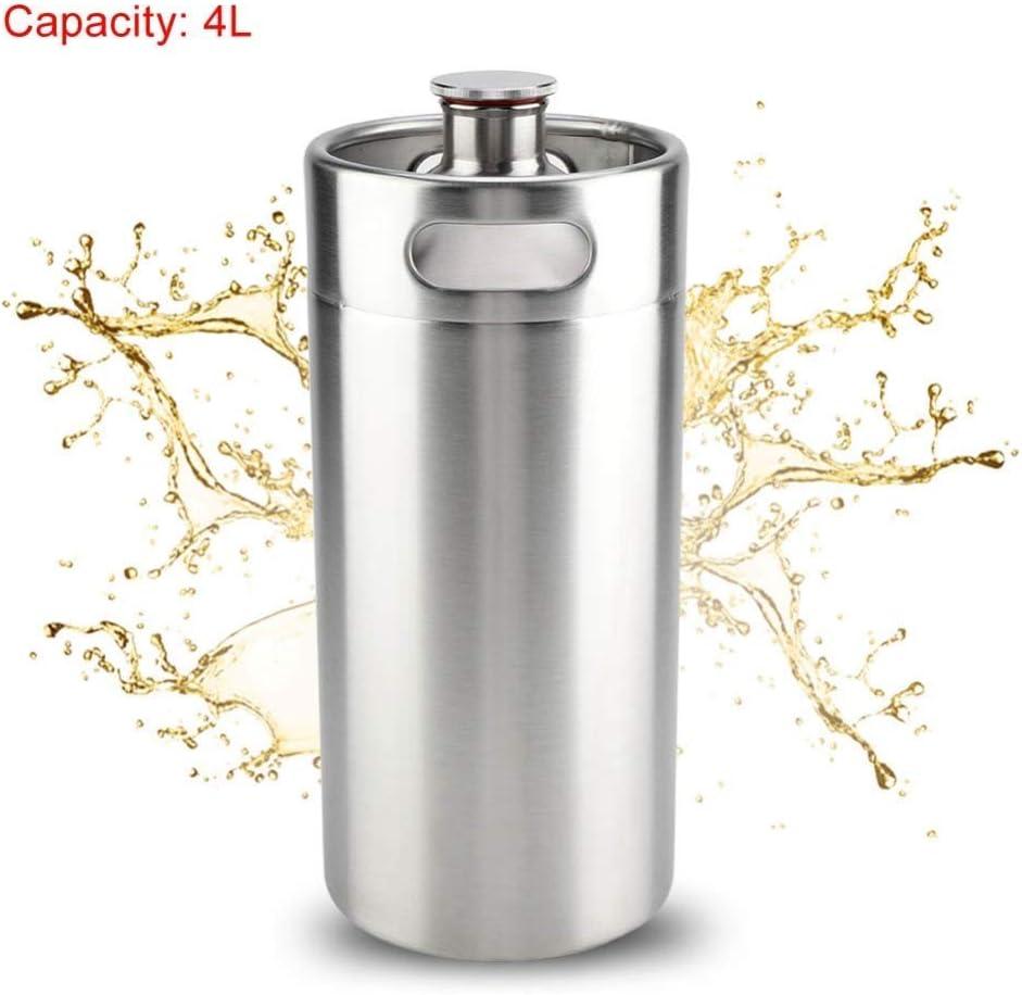 HUKOER 4L Mini Cubo de Vino Barril Metálico de Acero Inoxidable para Cerveza, Sodas, Bebidas Frescas