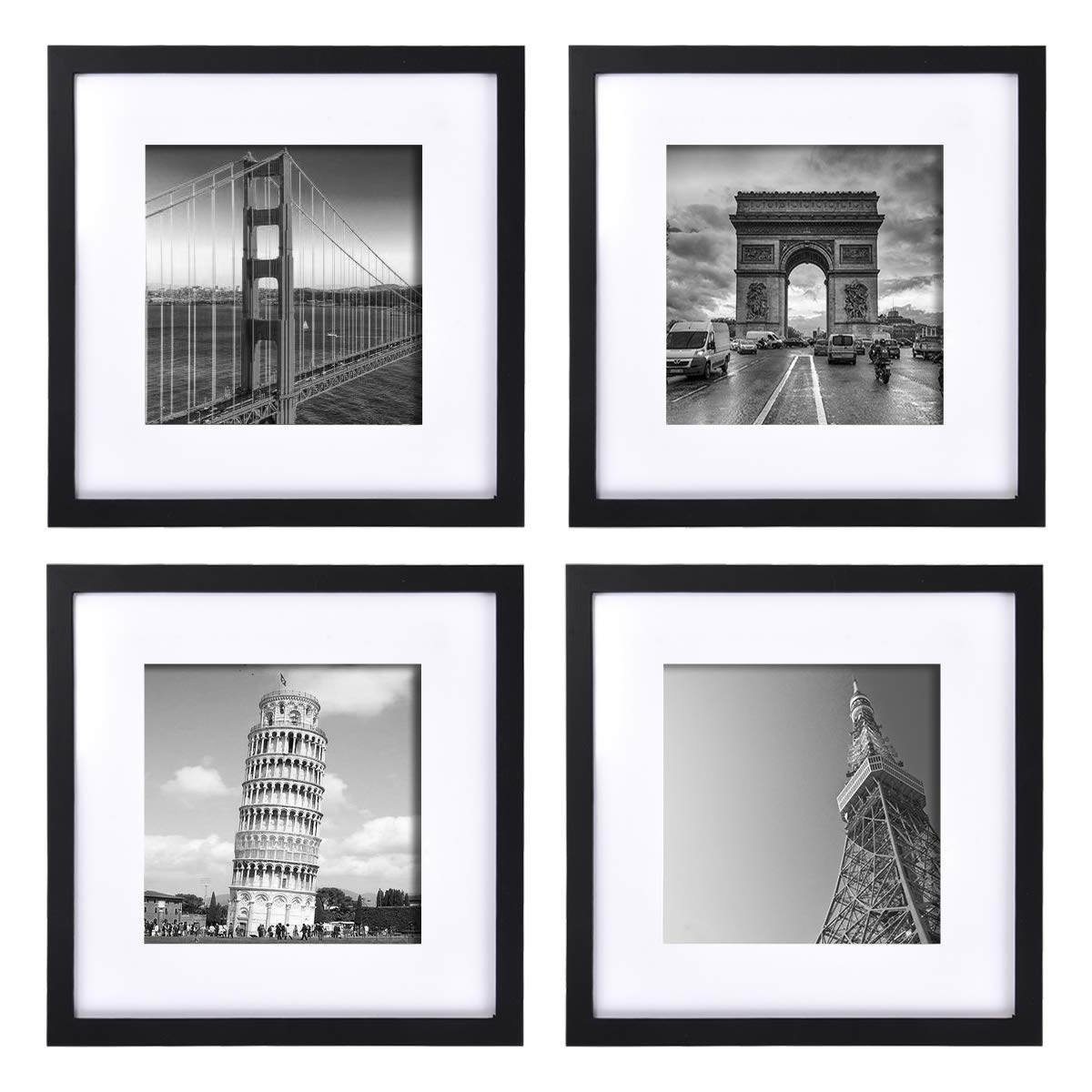wenmer 12x12 Picture Frame Black Gallery Picture Frames with Mat to 8x8 for Wall Mount or Table Top 4 Pack