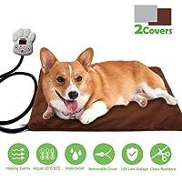FOCHEA 15W Heizmatte für Haustiere Rechteck Wärmematte für Hunde und Katzen Heizdecke Heizkissen mit 7 einstellbaren Temperaturen und Zwei Herausnehmbaren Fleece-Hüllen