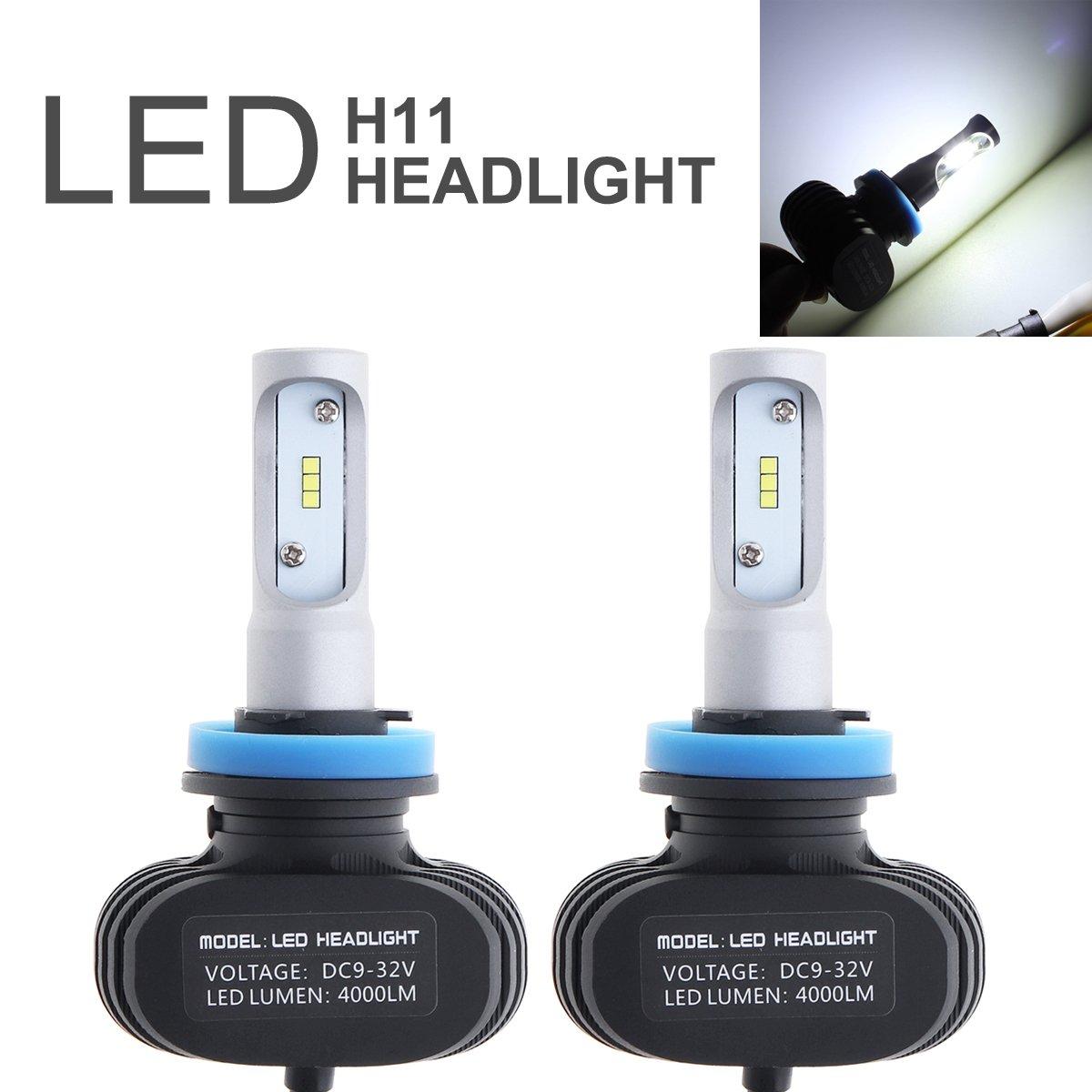 ePathChina 2Pcs H11 LED Headlight Bulb, 50W 8000LM 6000K Auto Car Light CSP Chips Conversion Kit Automobile Fog Lamp
