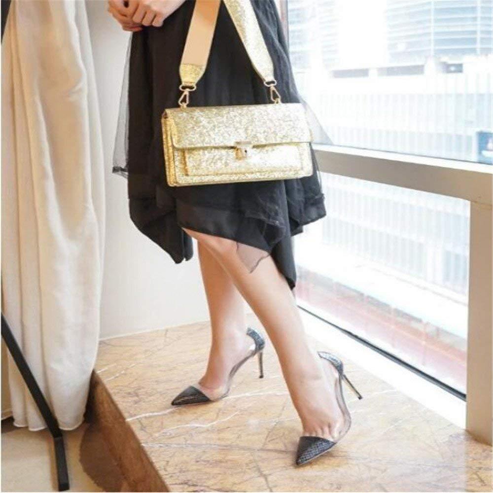 Willsego Pumps Spitzen fein, mit High Heels weiblich war dünn Gold Silber Wildtide Show Schuhe Frauen Hochzeitsschuhe (Farbe  38, Schwarz)