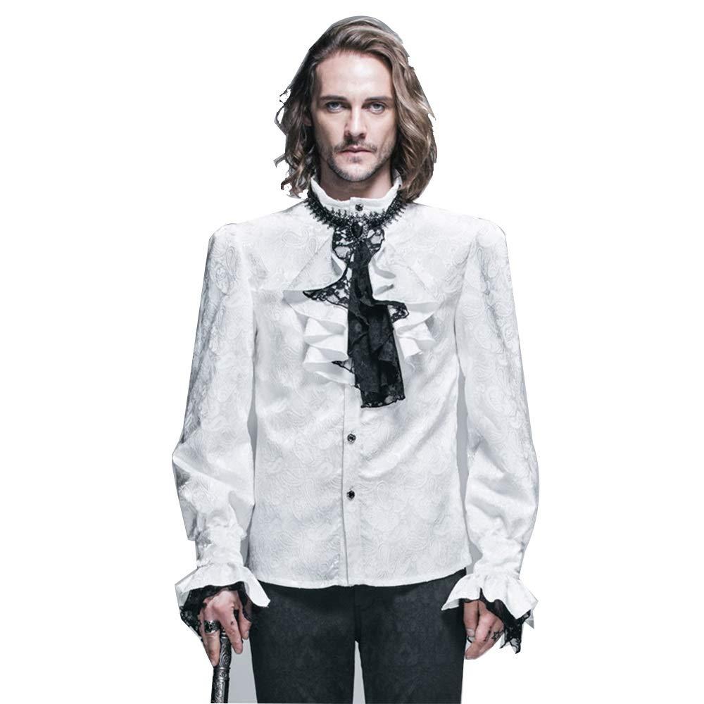 Blanc XXXXL Punk Gothique rétro Perforhommece sur scène avec Chemise de Mode Tendance Collier Fleur (Couleur   Blanc, Taille   L)