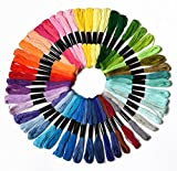 50 Skeins Embroidery Floss Mega Pack ,embroidery thread Approx. 8m per skein Various Colors , 100% mercerized Cotton (Color 1)