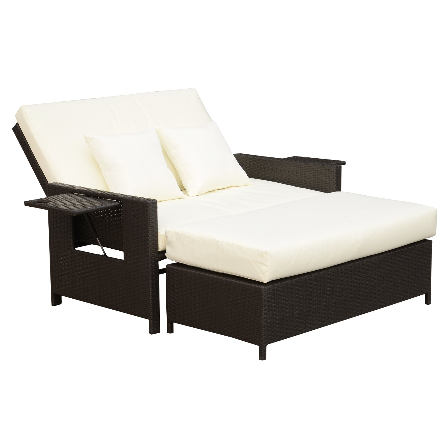 Outsunny 2 Piece Outdoor Rattan Wicker Cushioned Chaise Lounge and Ottoman Set