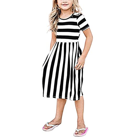 Euone Baby Outfit for 0-9 Years Old Baby, Toddler Girls Striped Dress Tunic