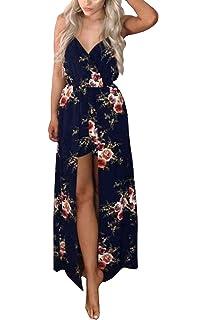 d66674629df Kbook Women s Sleeveless V-Neck Floral Print Split Beach Wedding Party Maxi  Romper Dress