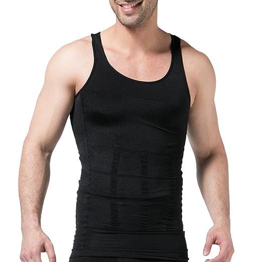 f7428aff14 Amazon.com  JIAO MIAO Mens Slimming Waist Body Shaper Vest Shirt ...