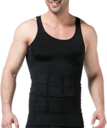 JIAO MIAO Mens Waist Body Shaper T-Shirt Vest Tank Tops