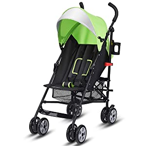 BABY JOY Lightweight Stroller, Aluminum Baby Umbrella Convenience Stroller, Travel Foldable Design with Oxford Canopy/ 5-Point Harness/Cup Holder/Storage Basket, Green