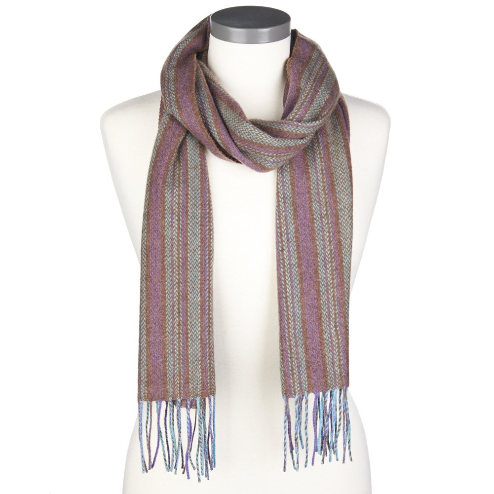 Peck /& Peck Mens 100/% Cashmere Woven Herringbone Scarf with Fringe