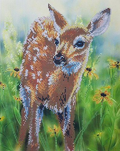 Bambi Bead Embroidery Kit, Deer Needlepoint Baby Fawn, Deer Cross Stitch, Bambi Embroidery Pattern, Fawn Nursery Decor, Woodland Creature