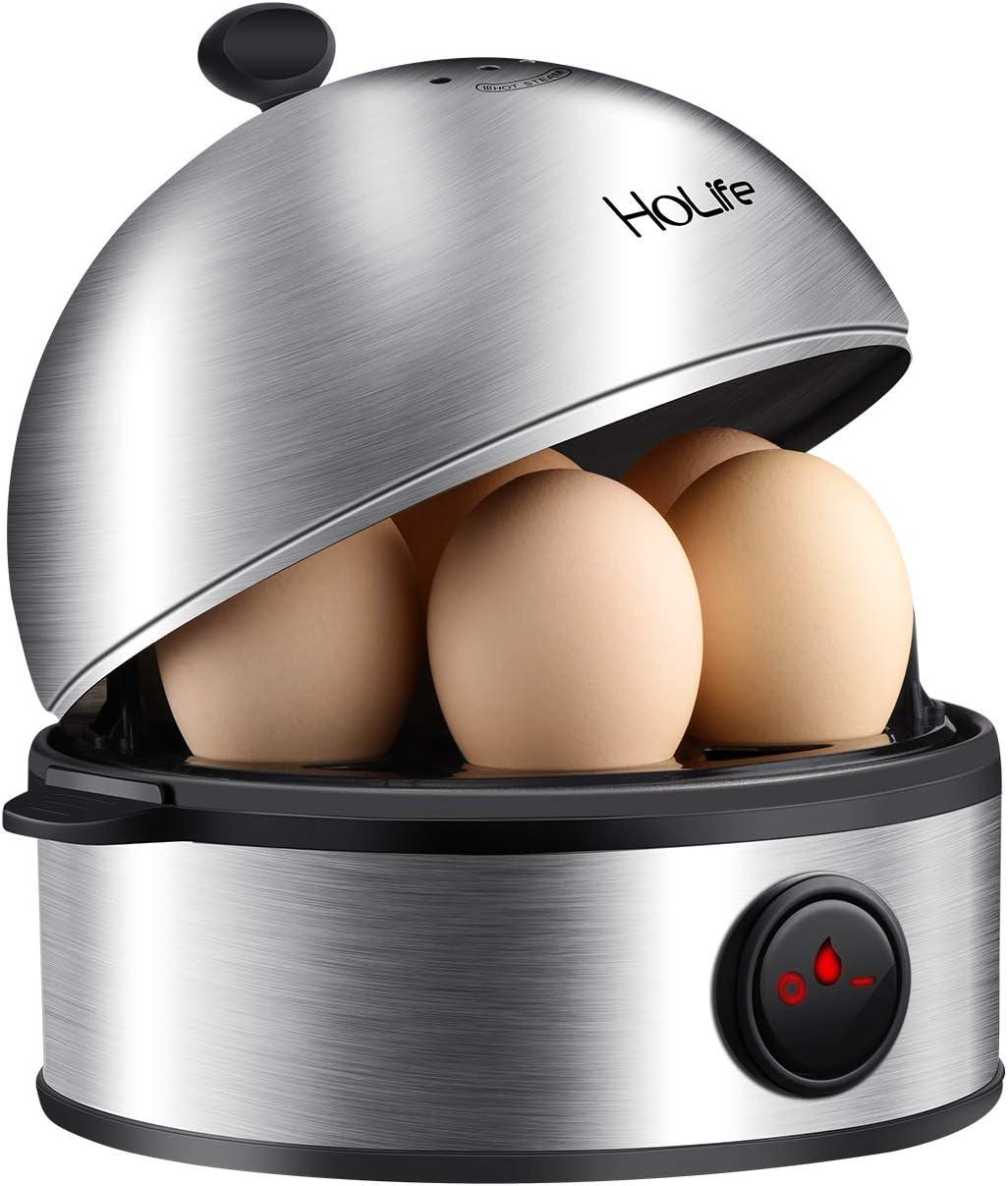 Egg Cooker, HoLife Stainless Steel Egg Boiler Steamer with Auto Shut off, 7 Egg Capacity for Soft, Medium, Hard Boiled Eggs, Omelettes-Black