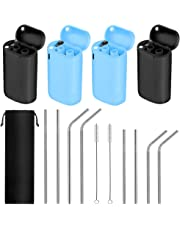 12 Packs Collapsible Reusable Stainless Steel Drinking Straws Set, 4 Foldable Straws with Portable Cases, 8 Dishwasher Safe Long Straws for 30oz 20oz Tumbler Cups, Includes Cleaning Brushes & Pouch