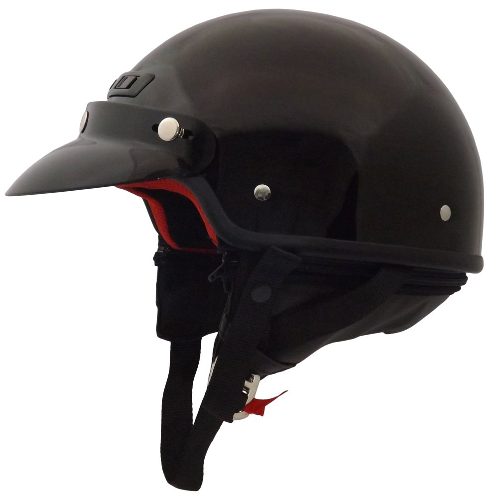 Core Helmets Deluxe Half Helmet (Gloss Black, Small) by Core Helmets