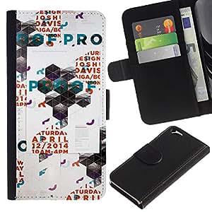 A-type (Arte Polígono Poster Pared Rave Evento) Colorida Impresión Funda Cuero Monedero Caja Bolsa Cubierta Caja Piel Card Slots Para Apple (4.7 inches!!!) iPhone 6 / 6S
