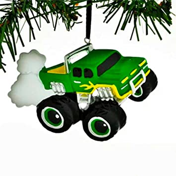 Christmas Jam 2019.Personalized General Monster Truck Christmas Tree Ornament 2019 Green Mighty Pickup Vehicle Machine Large Tires Field Trailer Boy Holiday Toy Jam