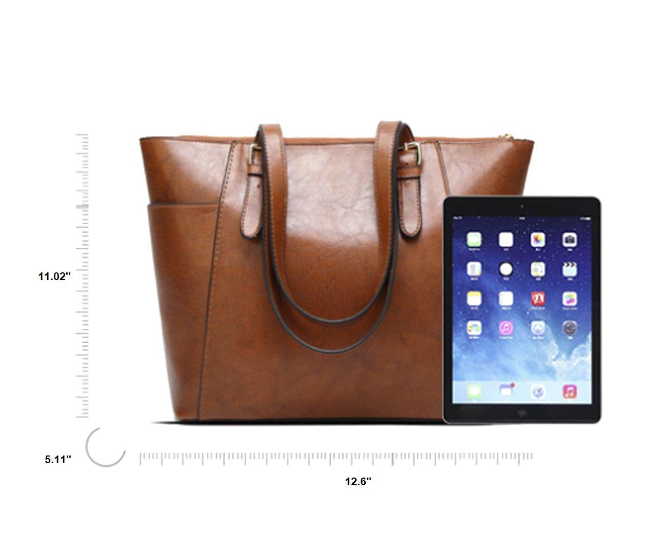 Women's Vintage Fine Fibre Genuine Leather Bag Tote Shoulder Bag Handbag Model Pocket Black by AMAIA DURAN (Image #9)