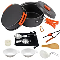 AnimaMiracle 14/15 Piece Camping Cookware Mess Kit, Hiking Camping Backpacking Gear & Camping Outdoor Survival kits Cooking Equipment Pots | Mini Non-Stick Pan, Lightweight,Compact Camp Pot Set