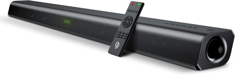 Barra de Sonido 2.0 Canales, Potencia 120 W, 110 dB, BOMAKER Tecnología DSP Subwoofer Incorporado, HDMI, Bluetooth 5.0, para TV, Cine en Casa, Óptico, 3,5 mm AUX, USB, ODINE III [Actualizado]