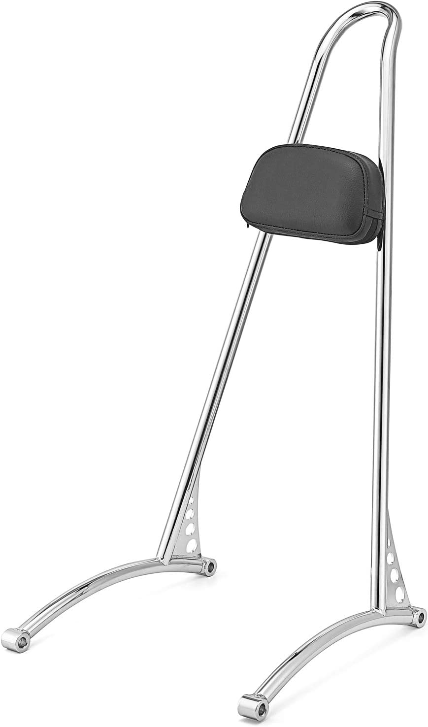 WSays Chrome Tall 20 Sissy Bar With Passenger Backrest Pad Classic Styled for 2006-2017 Harley Dyna Fat Bob Low Rider Super Glide Models
